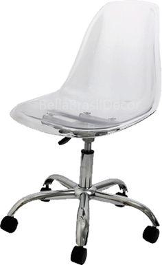 Cadeira Giratoria PSCC Eames Policarbonato Transparente  - Bella Brasil Decor