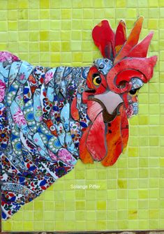 Mosaic dog by Solange Piffer Mosaic Tile Art, Mosaic Artwork, Mosaic Crafts, Mosaic Projects, Mosaic Glass, Glass Art, Mosaics, Stained Glass, Mosaic Animals