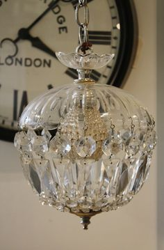 Antique Crystal Hanging Dome Chandelier w/Beaded Bulb Cover-