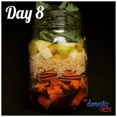 Day 8 - Harvest Salad   2 tbsp maple balsamic vinaigrette http://bit.ly/12Dressings 1/2 cup sweet potato, roasted 1/4 cup toasted pecans 1/2 cup cooked quinoa 1 small pear, diced 1/2 cup arugula