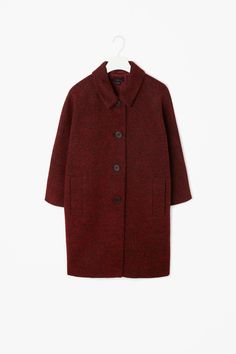 COS   Kimono sleeve coat in dark red   57% Cotton,   18% Wool, 15% Polyester, 8% Alpaca, 2% Other fibres.  Dry clean   Length: 85cm (Size 38)   £175