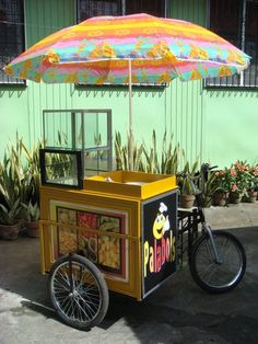 Cute bicycle food cart- WE COULD HIRE A SHAVED ISE VENDOR TO PARK OUTSIDE OF THE STORE NEXT TO THE FLOWER VENDOR!!