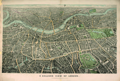 A Balloon View of London, 1851 bird's eye [birdseye] view or panoramic map published by Edward Stanford / Bodleian Map Room, University of Oxford, UK