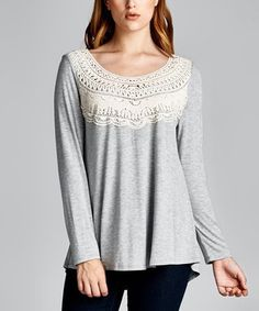 Love this Heather Gray Lace-Yoke Scoop Neck Tee on #zulily! #zulilyfinds