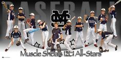 Custom Baseball Banner - Muscle Shoals All-Stars - Personalized sports posters, custom team collages, senior recognition banners, and team schedules for your athlete! Baseball Banner, Sports Baseball, Baseball Stuff, Sports Teams, Baseball Team Pictures, Baseball Posters, Sports Posters, Team Schedule, Little League Baseball