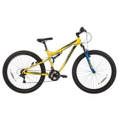 Huffy 27.5 inch Brawn Men's Mountain Bike with Plus Size 3.0 Tires, Yellow