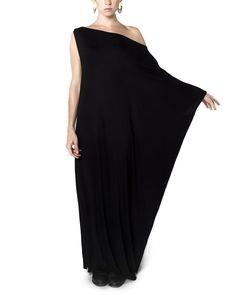 Black Kaftan - Assymmetrical Maxi Dress Bamboo