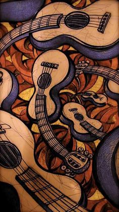 39 ideas music instruments artwork for 2019 Guitar Painting, Guitar Art, Music Guitar, Cool Guitar, Music Artwork, Art Music, Jazz Art, Chant, Les Oeuvres