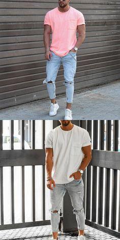 Casual T Shirts, Casual Outfits, Men Casual, Men Shirts, Teen Boy Fashion, Mens Fashion, Winter Fashion Casual, T Shirt Vest, Men's Wardrobe