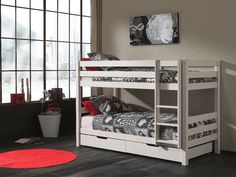 Max Bunk Bed with Table and sleep centre with Red Cushions - Bunk Beds from Noa and Nani UK Bunk Beds With Storage, Kids Bunk Beds, Under Bed Storage, Play Beds, Loft Beds, White Kids Bed, Sleep Center, Single Bunk Bed, Under Bed Drawers