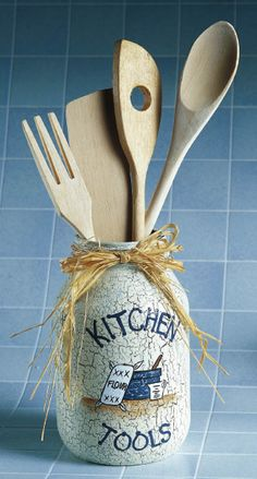 Kitchen Tools Jar - Crafts 'n things  I like the crackle finsih   Visit & Like our Facebook page! https://www.facebook.com/pages/Rustic-Farmhouse-Decor/636679889706127