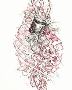 Samurai in progress. Irezumi Tattoos, Geisha Tattoos, Kunst Tattoos, Body Art Tattoos, Japanese Drawings, Japanese Tattoo Art, Japanese Tattoo Designs, Japanese Sleeve Tattoos, Samurai Drawing