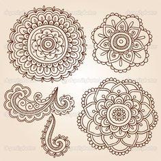 Henna Flowers   Hand-Drawn Abstract Henna Mehndi Mandala Flowers and Paisley Doodles ...