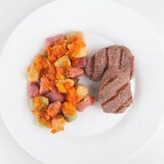 Filé mignon grelhado + Nhoque colorido de batata doce Congelado