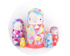 Handpainted neon goodness! Geometric Nesting Doll Matroyshka 'Little Neons' by SketchInc, £55.00