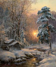 Cabin in the snow art beautiful landscapes, beautiful paintings, dream pict Winter Landscape, Landscape Art, Landscape Paintings, Winter Painting, Winter Art, Winter Snow, Painting Art, Snow Art, Winter Scenery