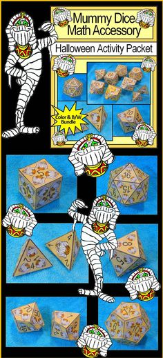 Mummy Dice Halloween Math Activity: Giant printable geometric dice templates for use with math activities and games. Includes: tetrahedron (d4), cube (d6), octahedron (d8), decahedron (d10), dodecahedron (d12), icosahedron (d20), as well as a set of percentile dice. Great for roll and cover activities, basic facts practice, generation of math problems, learning polyhedrons, geometry units, and classroom games!  #Halloween #Mummy #Math #Game #Dice #Activities #Teacherspayteachers