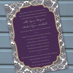 eggplant invitation, plum bridal shower invitation, wedding invitation, fall party. $20.00, via Etsy.