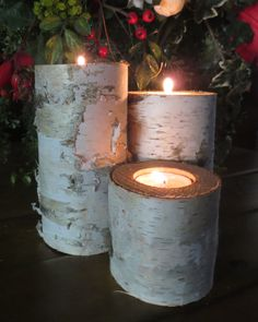 Home Decor Birch Candles Natural Rustic Wedding by MyGardenGate