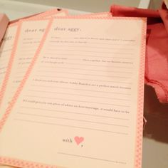 A personalized note for guests to fill out. How long you know each other, how you met, fondest memory, why the couple is good together, marriage advice. A sweet way to keep the sentimental memories.