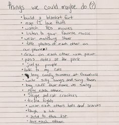 I really love this list...except I don't have cats. (pass notes in the park is my favorite one)