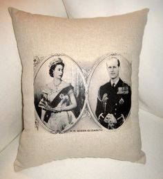 Queen Elizabeth British Monarchy Pillow, London, Jubilee, Olympics, Neutral Home Decor Inspired by Britain, England, Royal Family via Etsy
