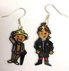 Shrinkles  Doctor Who  7th Doctor & Ace earrings by LovelyRuthies