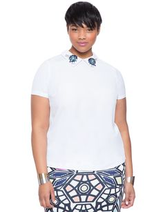 Embellished Collar Blouse | Women's Plus Size Tops | ELOQUII