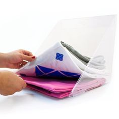 """Seriously SMART invention! Helps keep the closet tidy. Fold 'N' Stax 6 pack 11"""" x 11"""" Choose the middle one of the stack without messing up the rest! Multipurpose dividers make folding and stacking your clothes quick and easy! Textured on one side and smooth on the other."""