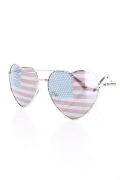 80355516254 American Flag Patriotic Print Heart Shape Sunglasses