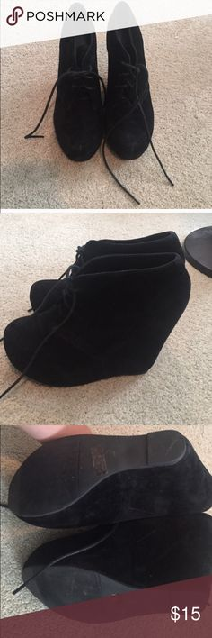 Black booties Back up for sale. Original buyer backed out! No trades. Only selling :) Shoes Wedges