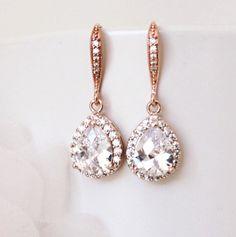 Rose Gold Bridal Earrings Wedding Jewelry Crystal Bridal Earrings Drop Earrings…