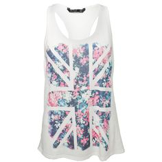 Miso Ditsy Flag Vest Top ($12) ❤ liked on Polyvore featuring tops, shirts, tank tops, blusas, racerback tank tops, white singlet, white floral shirt, union jack shirt and british flag shirt