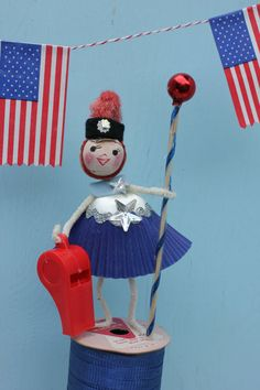 Vintage Style Spun Head Gal Fourth of July by MagpieEthel on Etsy