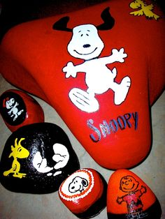 Snoopy and gang, painted rocks, by Brent Searle