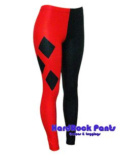 "Legging Bicolor em Lycra Metalizada ""Harley Quin"" #calça #legging #bicolor #pretaevermelha #red #black #harleyquinn #alerquina #personagens #visual #lycra #metalizada #fitness #academia #hardrockpants"