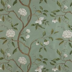 Snow Tree Silk Fabric - (Cowtan)