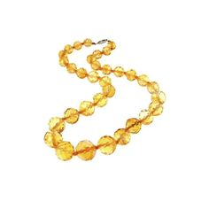 Art Deco Faceted Citrine Necklace 14k Gold Filigree Clasp