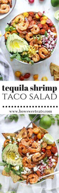 Tequila Shrimp Taco Salad I howsweeteats.com