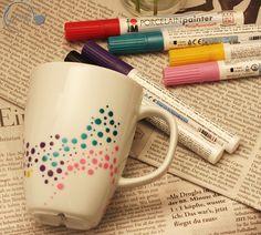 Upcycling von Porzellan Tassen mit Dots auf www-ge-sagt.de