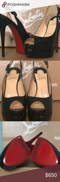 Christian Louboutin Black Platform Size 6 Christian Louboutin Palais Royal Trepointe Black adjustable sling back platform.  Worn 3 x. Barely any scuffs on red soles.  Only selling because my feet grew after pregnancy! Christian Louboutin Shoes Platforms