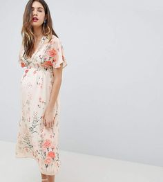 e255c88453f Fluted Sleeve Maxi Dress in Floral Print  Fluted short sleeves Maternity  Dress Outfits