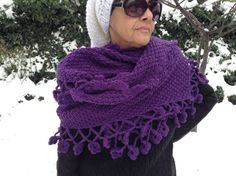 Purple shawl for ladies by ARTofFILIZ on Etsy