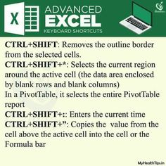 Useful Advanced excel shortcuts Pics) Microsoft Excel, Microsoft Office, Computer Shortcut Keys, Quotes About Strength And Love, Current Time, Computer Help, Keyboard Shortcuts, College Hacks, Learning Tools