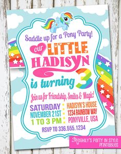 Hey, I found this really awesome Etsy listing at https://www.etsy.com/listing/254644000/my-little-pony-invitation-my-little-pony