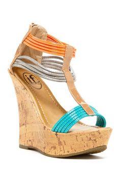 If Carrini Gathered Strap Wedge Sandal