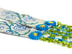 Blue Green Lace Necklace with Needle Lace by PinaraDesign on Etsy, $40.00
