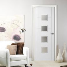 FLORIDA WHITE PRIMED FLUSH DOOR WITH FROSTED SAFETY GLASS