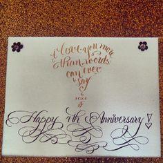 Custom Anniversary Calligraphy Heart.