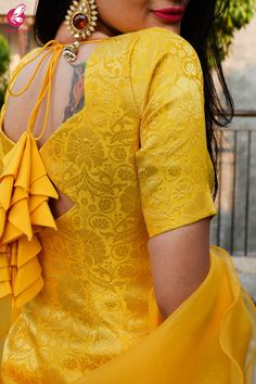 Shop Yellow Brocade Padded Kurta with Yellow Crepe Skirt and Yellow Pure Organza Ruffle Dupatta Kurti Set - Kurti Sets Online in India Neck Designs For Suits, Neckline Designs, Sleeves Designs For Dresses, Dress Neck Designs, Kurti Neck Designs, Kurta Designs Women, Kurti Designs Party Wear, Stylish Blouse Design, Stylish Dress Designs